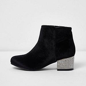 Girls black velvet block heel ankle boots