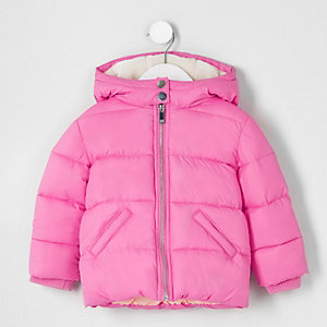 Mini girls pink hooded puffer coat