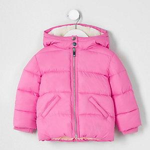Mini - Roze gewatteerde jas met capucho voor meisjes