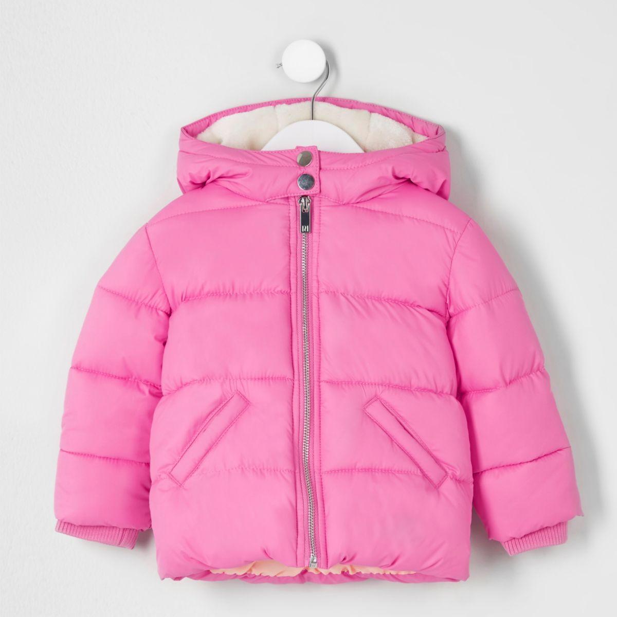 Mini girls pink hooded puffer coat