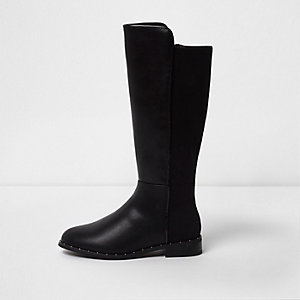 Girls black knee high flat riding boots