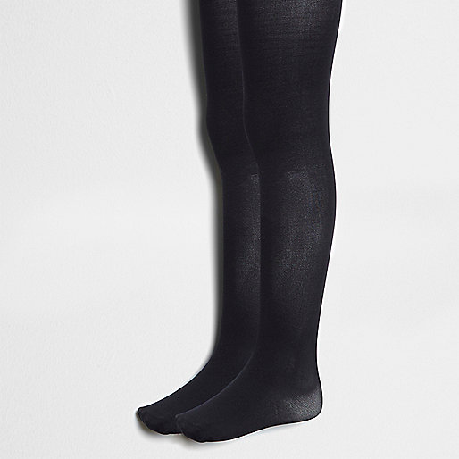 Girls black knitted tights multipack