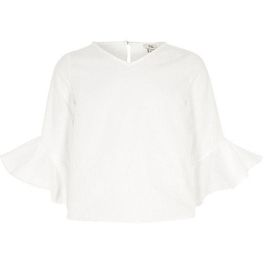 Girls white frill sleeve top