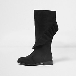 Girls black ruffle twist knee high boots