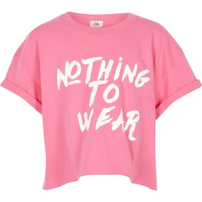 Roze cropped T-shirt met Nothing to wear'-print
