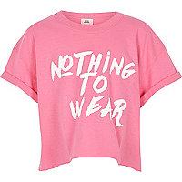 Girls pink 'nothing to wear' cropped T-shirt