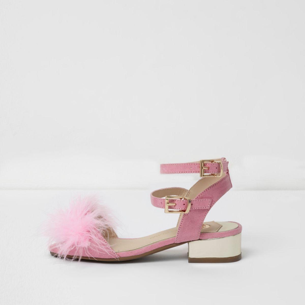 Girls pink feather block heel sandals