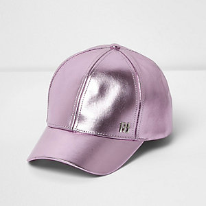 Girls light purple metallic baseball cap