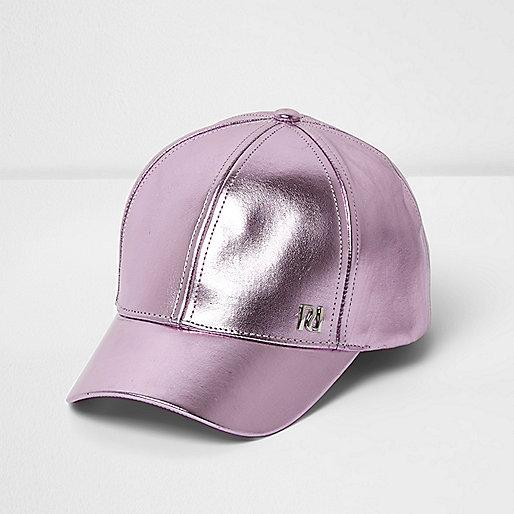 Girls light purple metallic baseball cap