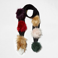 Girls black multicolour pom pom skinny scarf