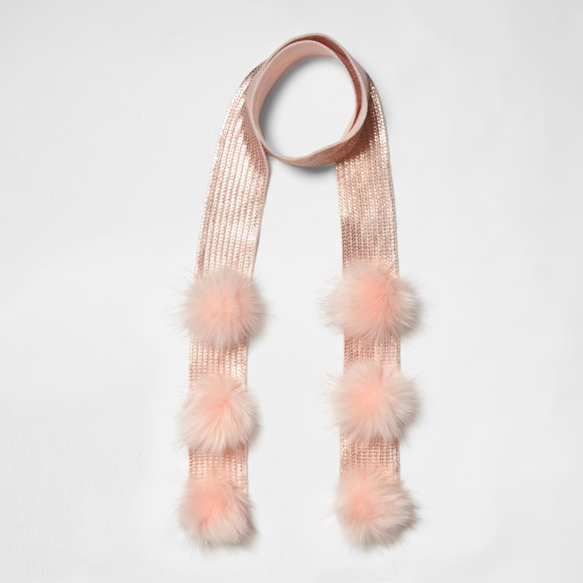Girls pink foil pom pom detail skinny scarf