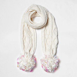 Girls white cable knit large pom pom scarf