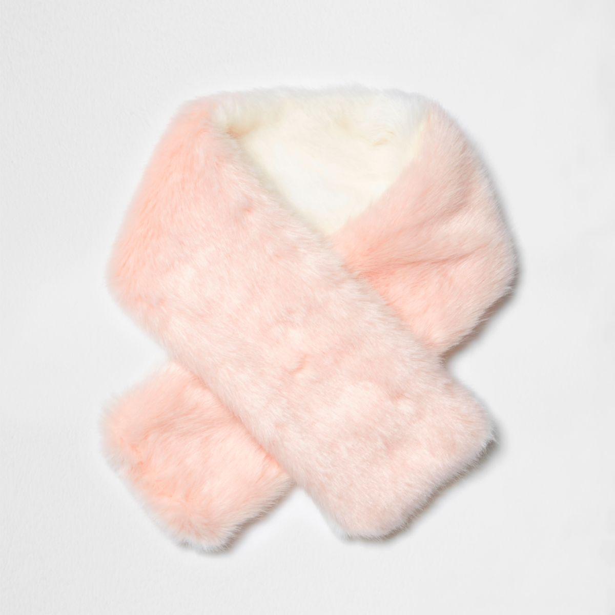Mini girls light pink faux fur tippet scarf