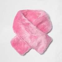 Mini girls bright pink faux fur tippet scarf