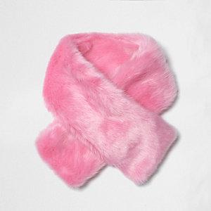 Mini girls bright pink faux fur tippet scarf