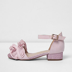 Girls pink ruffle glitter block heel sandals