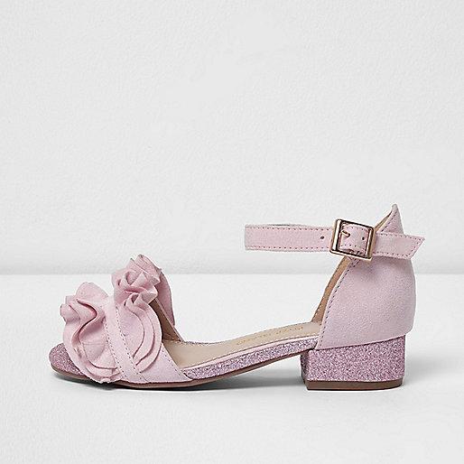 Girls pink ruffle glitter block heel sandals