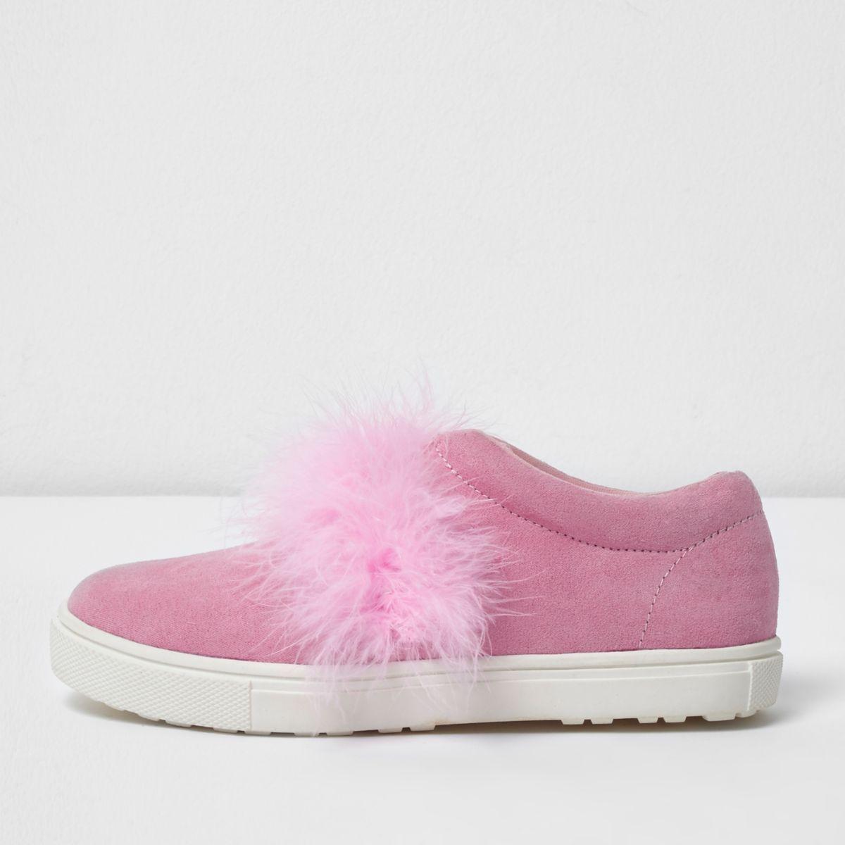 Girls pink feather slip on plimsolls