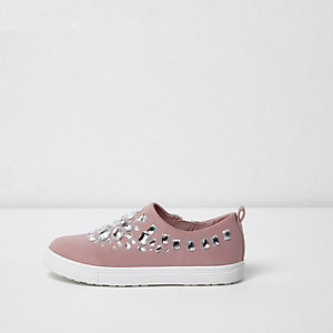 Girls pink rhinestone slip on plimsolls