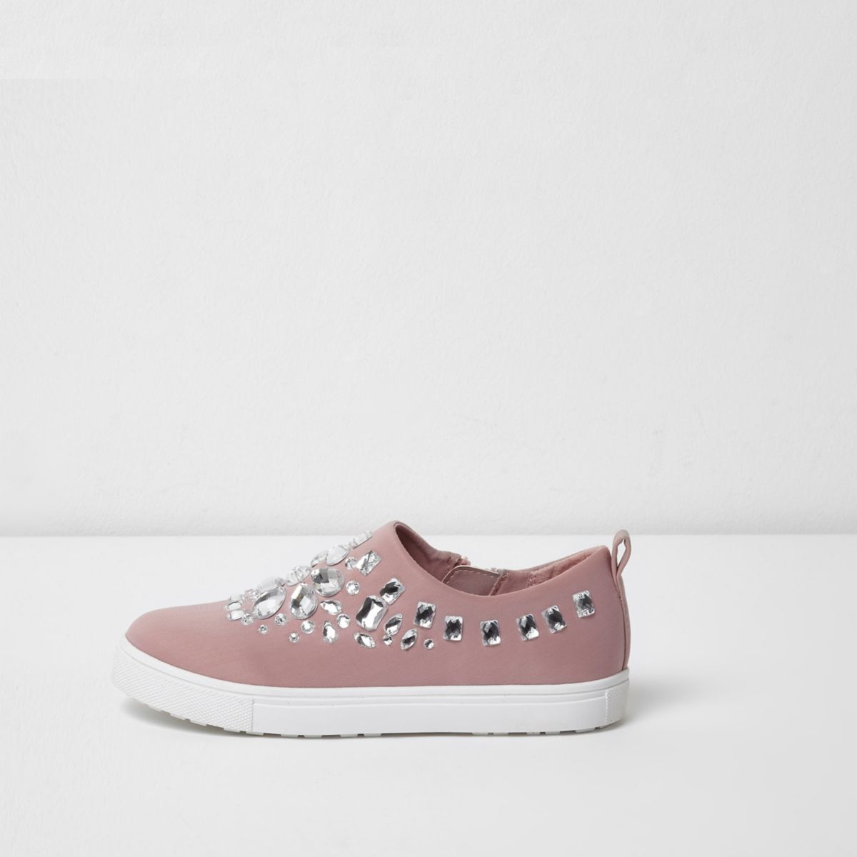 Girls pink diamante slip on plimsolls