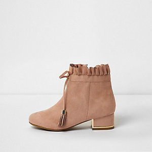 Girls beige ruffle top block heel ankle boots