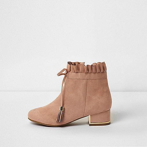 Girls beige ruffle top block heel ankle boots