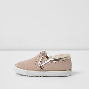 Mini girls pink faux fur lined plimsolls