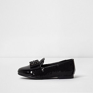 Mini girls black sequin brooch slippers