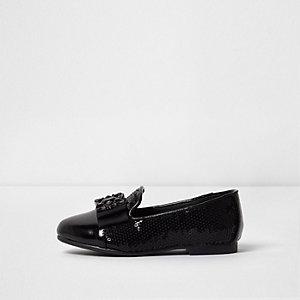 Mini - Zwarte pantoffels met broche en lovertjes voor meisjes