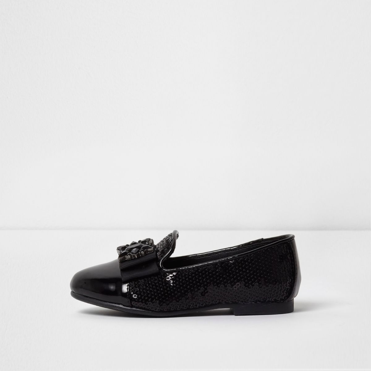 Mini girls black sequin brooch slippers
