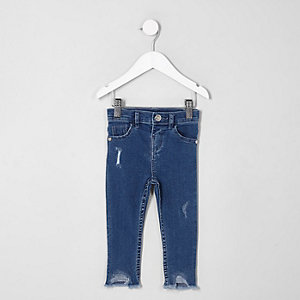 Mini girls blue Molly distressed hem jeggings