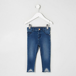 Mini girls blue Molly raw hem skinny jeans