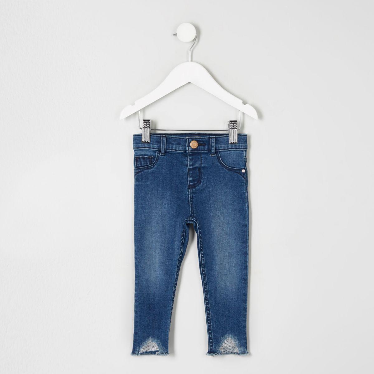 Mini girls blue Molly raw hem skinny jeans