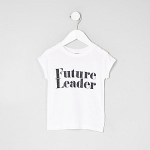 Mini girls white 'future leader' T-shirt