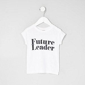 Mini - Wit 'future leader' T-shirt voor meisjes