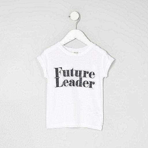 Mini girls white 'future leader' T-shirt