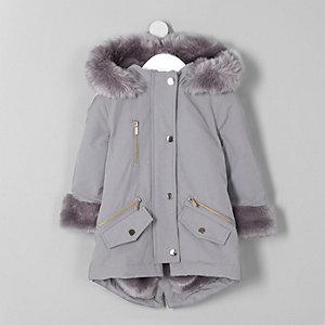 Mini girls grey faux fur trim parka coat