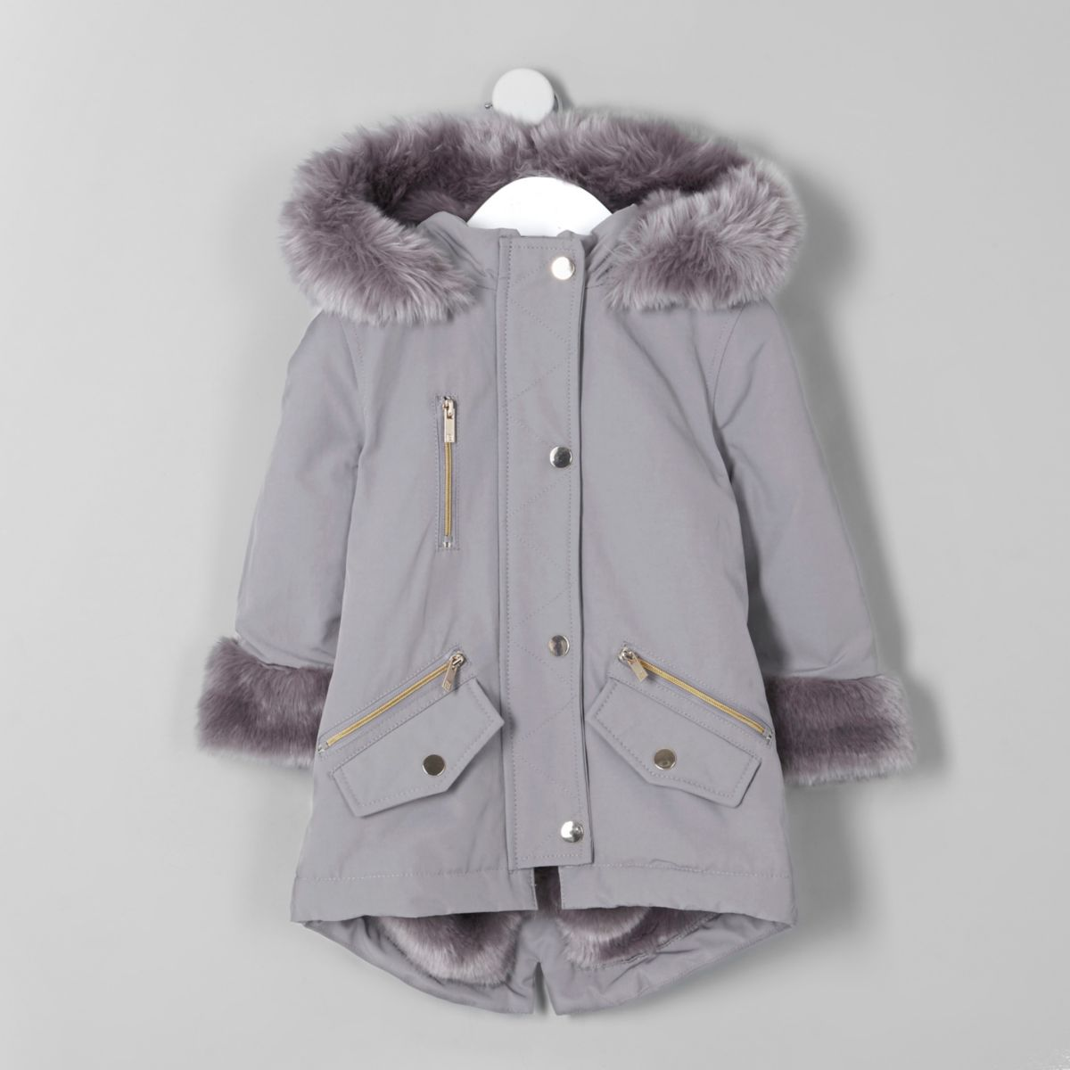 Mini girls grey faux fur trim parka coat
