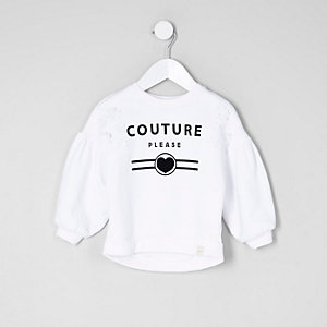 Mini girls white 'couture' print sweatshirt