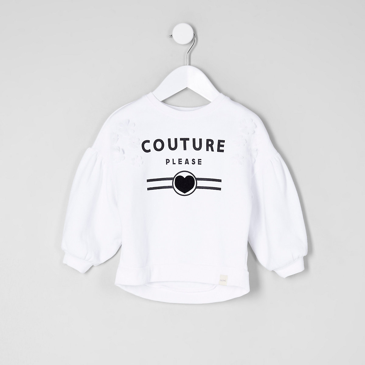 Sweat imprimé « couture » blanc mini fille