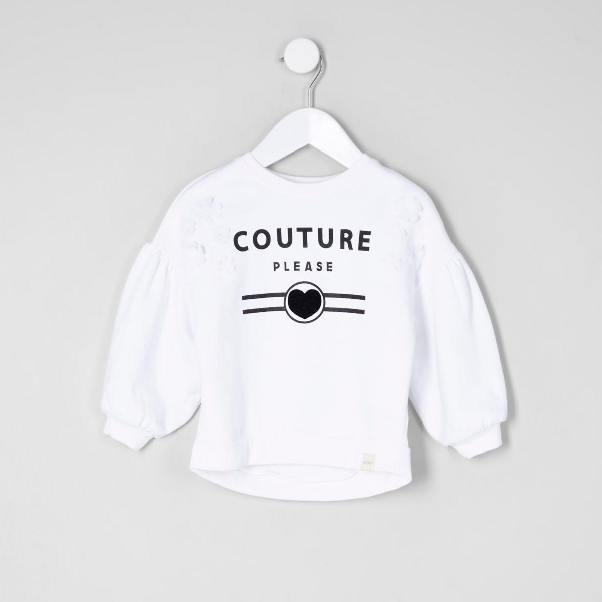 Mini girls white 'couture' print sweatshirt