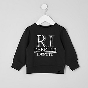 Sweat imprimé « RI » à paillettes mini fille