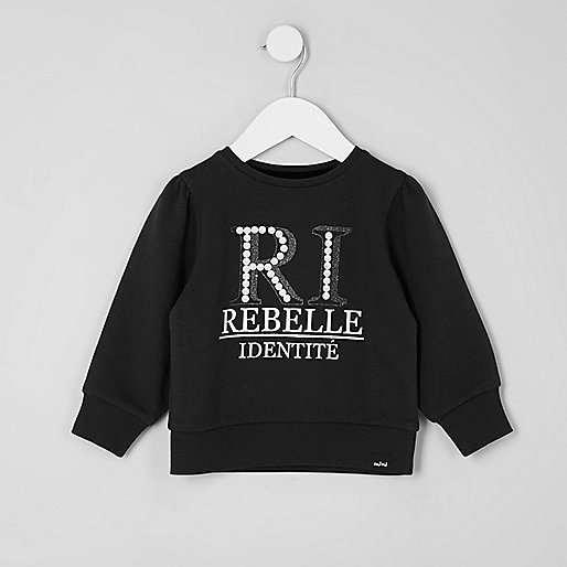 Mini girls 'RI' glitter print sweatshirt