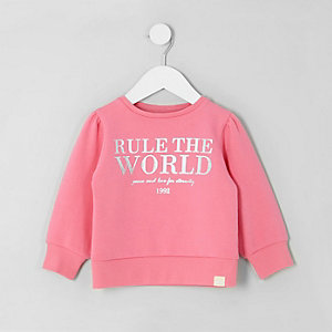 Mini girls pink 'rule the world' sweatshirt