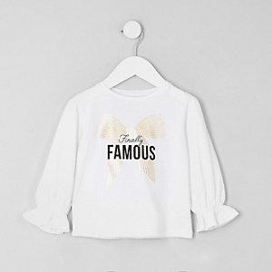 Mini - Witte top met ''Famous'-print en pofmouwen voor meisjes