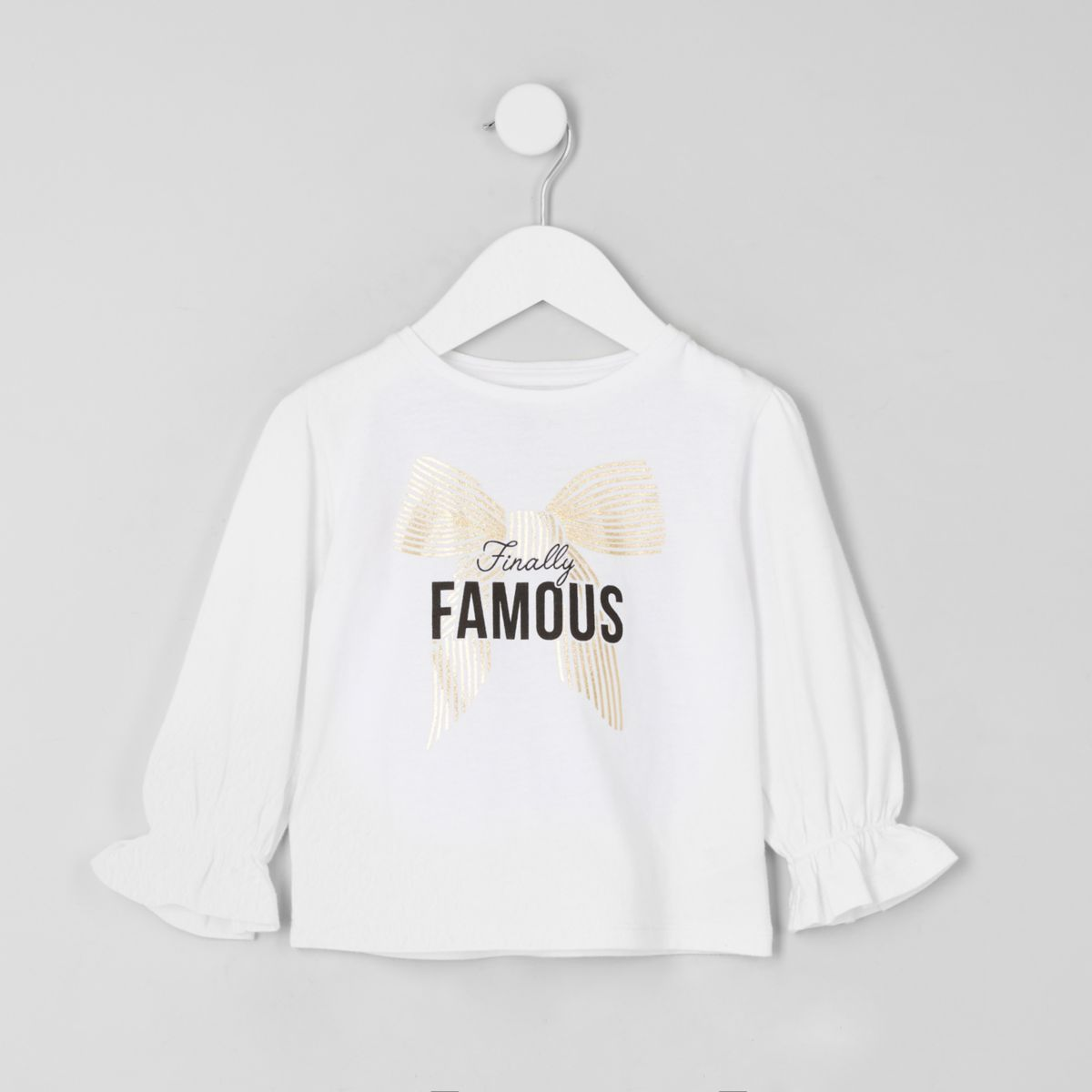 Mini girls white puff sleeve 'famous' top