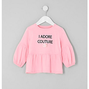 Mini girls pink 'adore' print peplum top