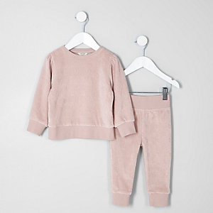Ensemble avec sweat RI en velours rose mini fille