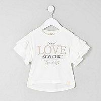 Mini girls white 'love' frill sleeve T-shirt