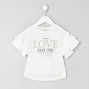 Mini girls white 'love' frill sleeve T-shirt